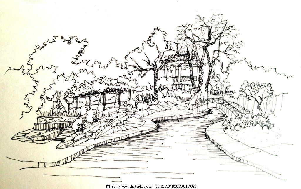 手绘风景西安植物园 手绘 风景 花架 景观亭 西安植物园 风景漫画