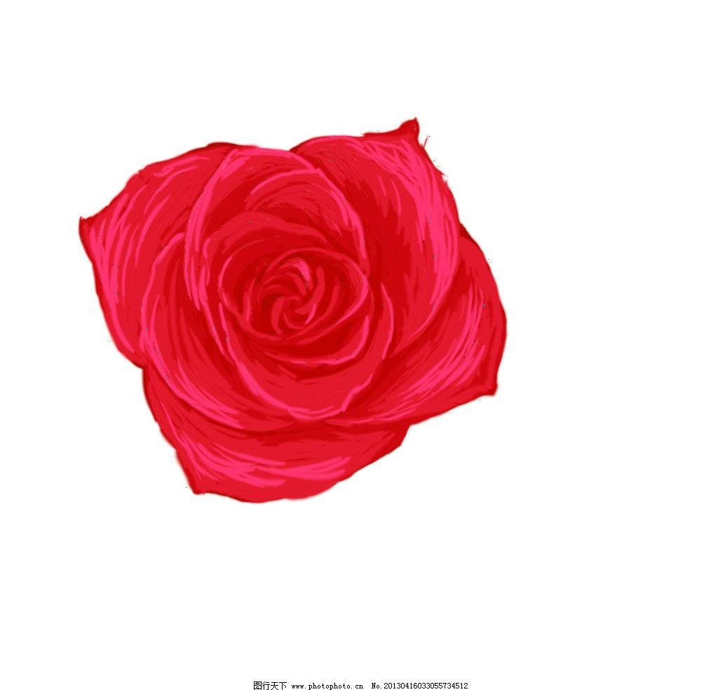 手绘玫瑰花 手绘花朵 红色玫瑰花 鲜花 抽象花朵 源文件
