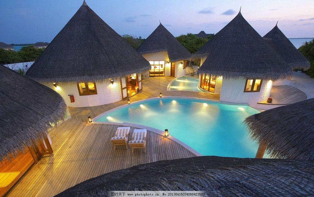 马尔代夫 海边木屋 海边风景 蓝天 大海 白云 沙滩浴场 夏季风光 海边