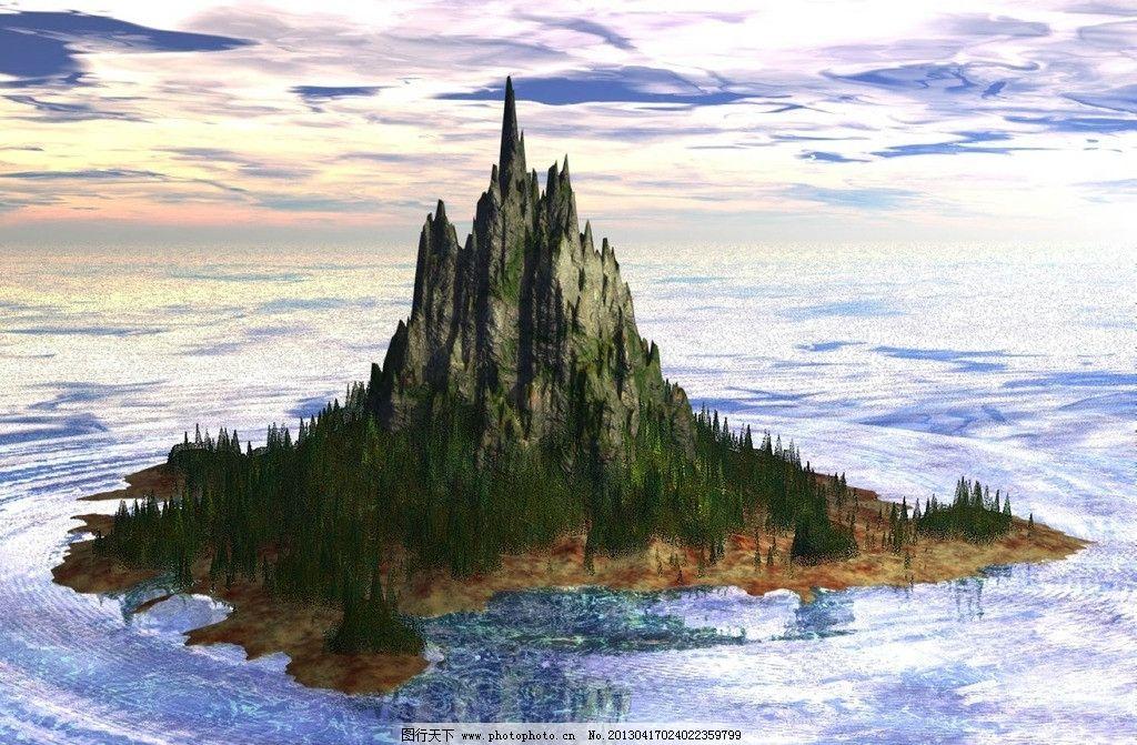 孤岛风景画 山 天空 山峰      背景 壁纸 jpg cg 动漫 设计 自然风光