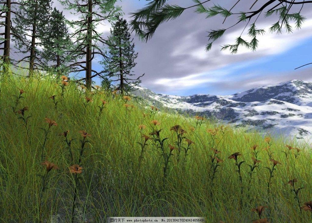 草地风景画 树木 树 阳光 山 天空 山峰 草      背景 壁纸 jpg cg