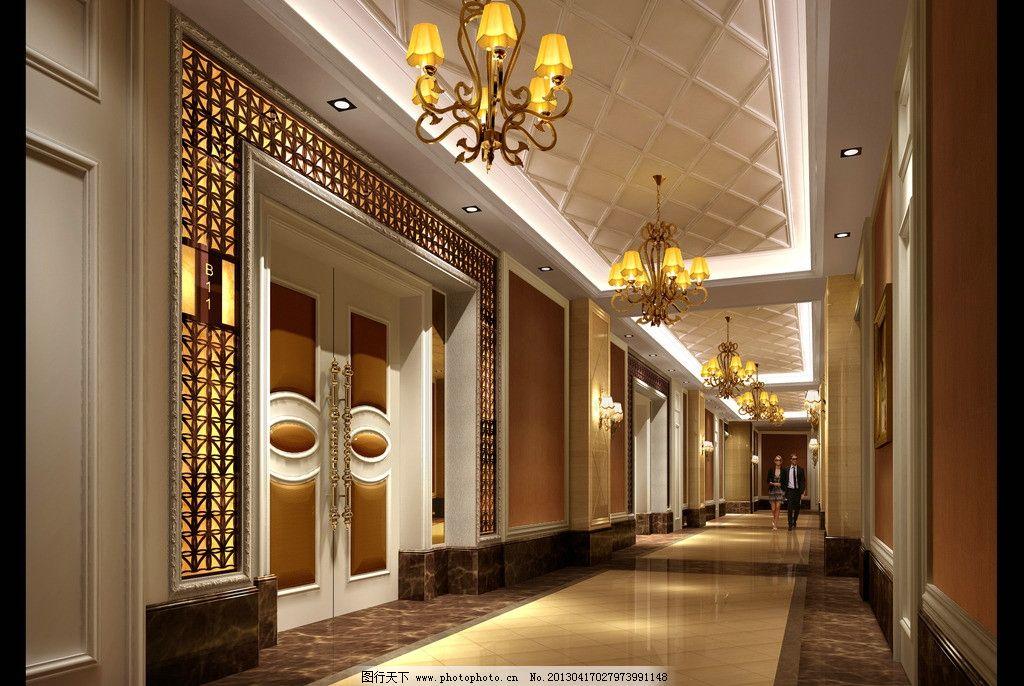 中餐走廊效果图 中餐走廊 3d效果图 酒店 室内设计 吊灯 环境设计
