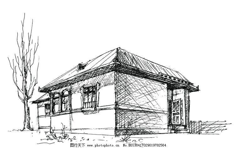 老房子 手绘 ai 铅笔 黑白 其他 建筑家居 矢量 eps