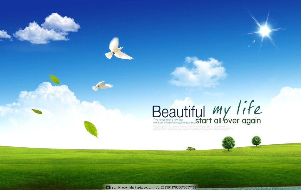 蓝色背景 蓝天 白云 绿草地 学校文化展板 绿色环保 鲜花 风景 鸽子