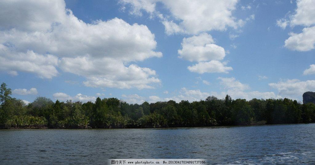 蓝天 湖水 树木 白云 树林 景色 美景 自然风光 自然风景 自然景观
