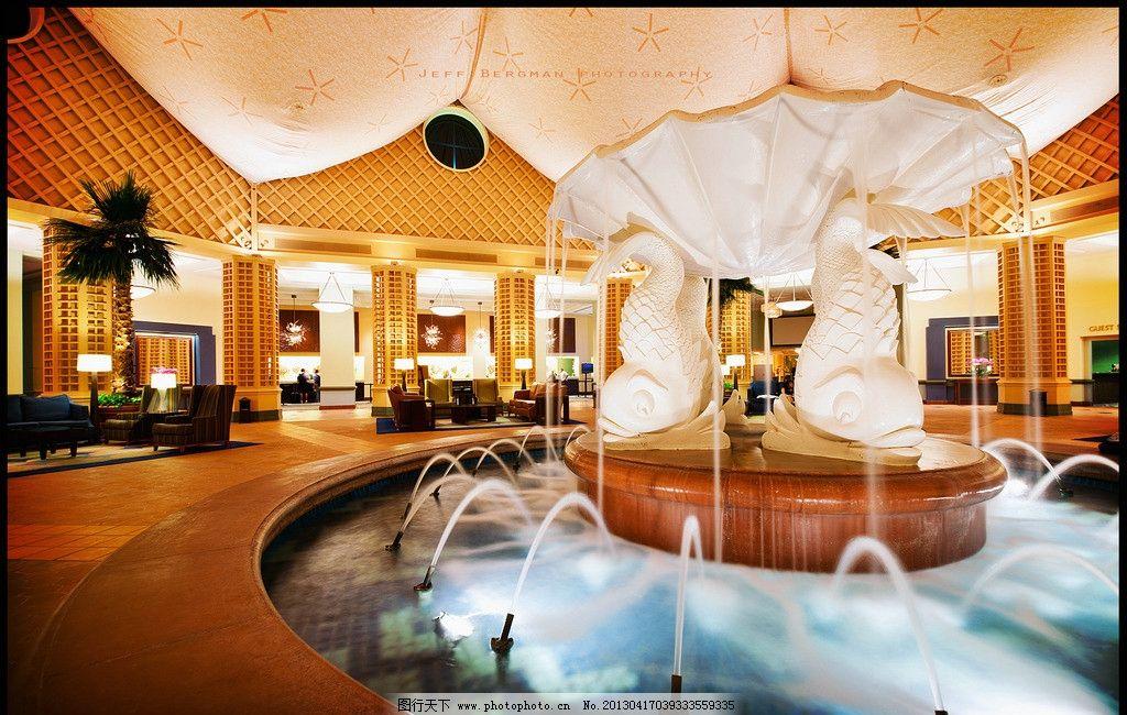 会所 欧式 喷泉 室内喷泉 高级酒店 酒店大堂 奢华 高档场所 金色