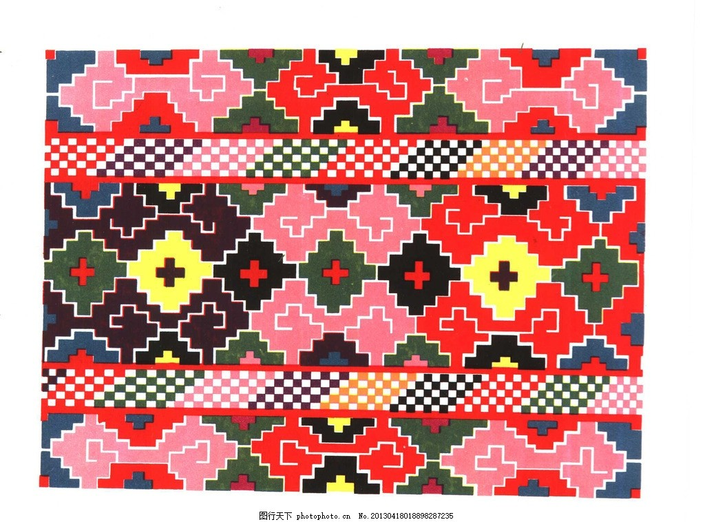哈萨克族栽花挂巾两端 民族 图案 纹样 装饰 花纹 哈萨克族 栽花挂巾