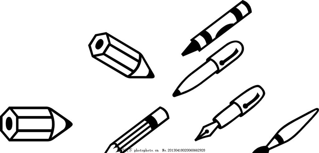 设计图库 标志图标 网页小图标  铅笔 卡通 素描 钢笔 圆珠笔 黑白