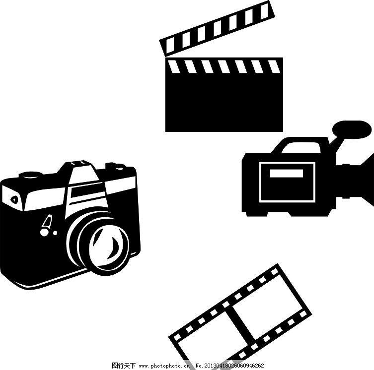 摄影照相 标志 矢量 素描 卡通 黑白 照相机 胶片 摄影机 电影卡