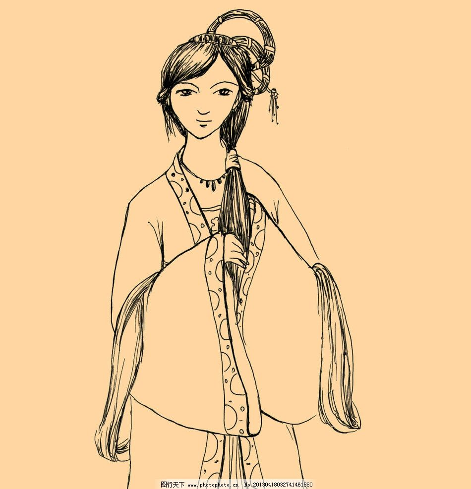 手绘线描古代人物图片