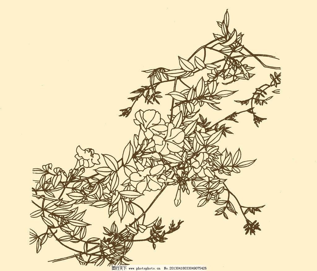 白描花卉 线描 线画 线稿 中国画 花草 树枝 枝头 源文件