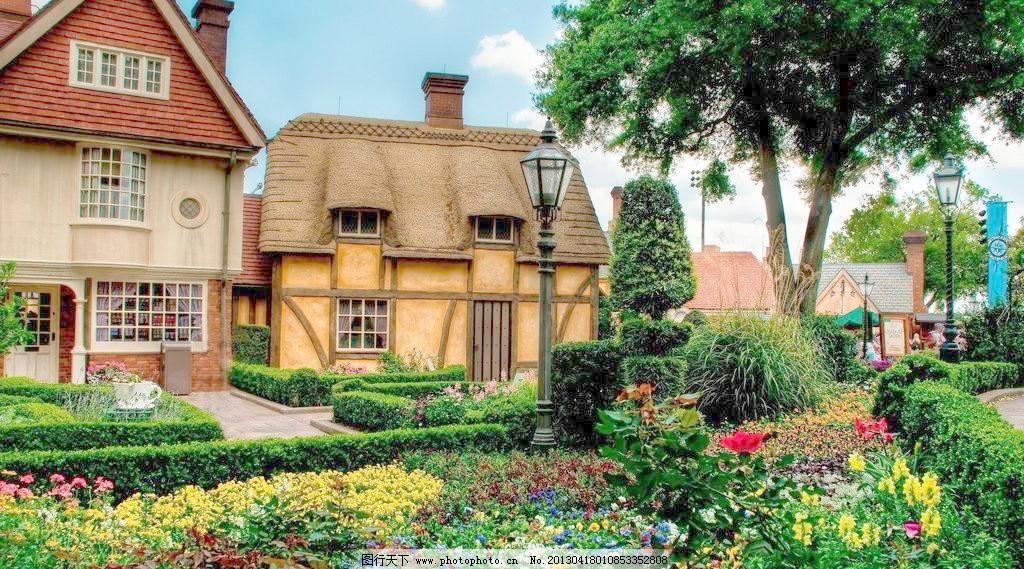 欧式别墅 摄影 自然 唯美 壁纸 高清 宽屏 田园 欧式 别墅 鲜花 小树