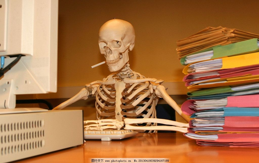 骷髅 玩电脑的骷髅 电脑 骷髅架 健康 it 骨头 商务 商业 办公 键盘