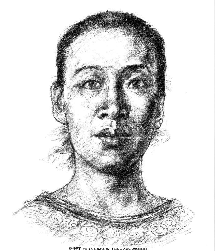 头像 素描      半身像 美术 绘画 图画 美术高考 艺考 女中年 正面