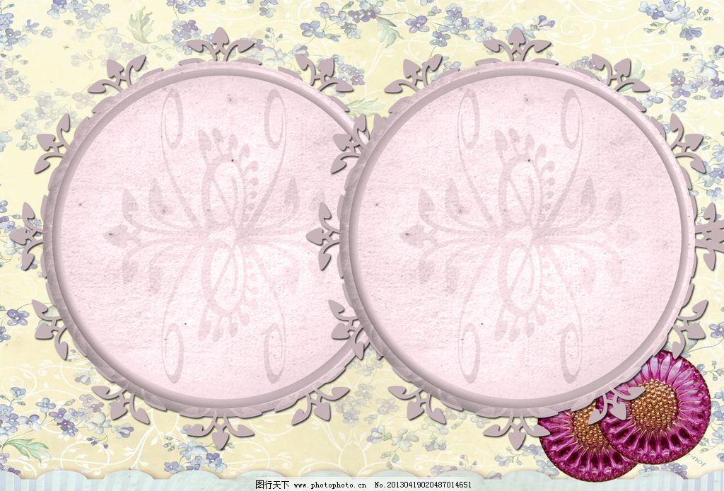 花边相框 相框 花纹 花边 古典 圆形 黄色 粉色 红色 纽扣 照片 边框