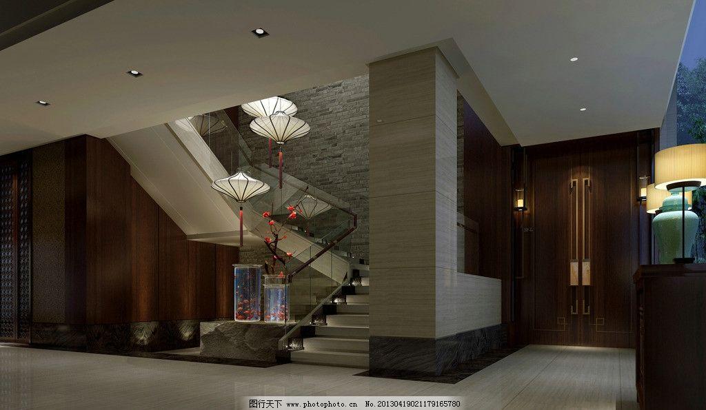 楼梯间 工装 酒店 饭店 门厅 中式 3d作品 3d设计 设计 72dpi jpg