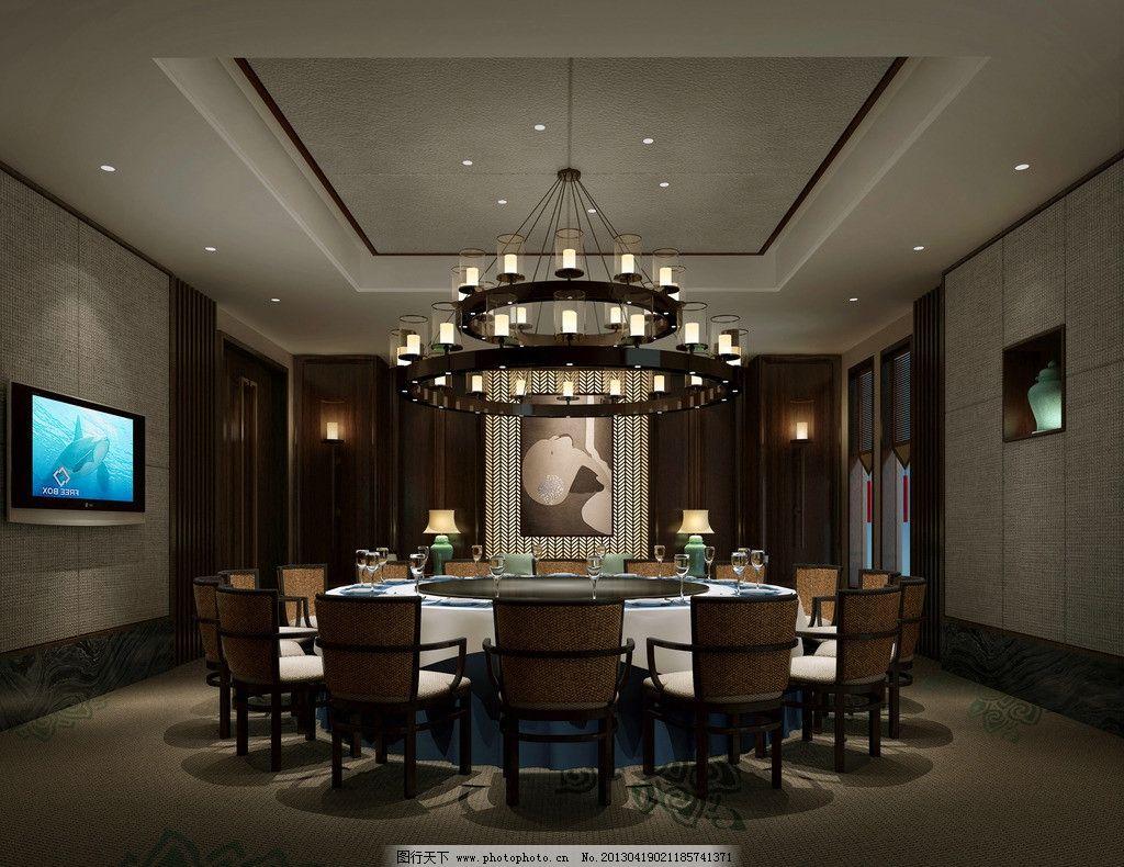 包间 工装 酒店 饭店 中式 吊灯 桌椅图片