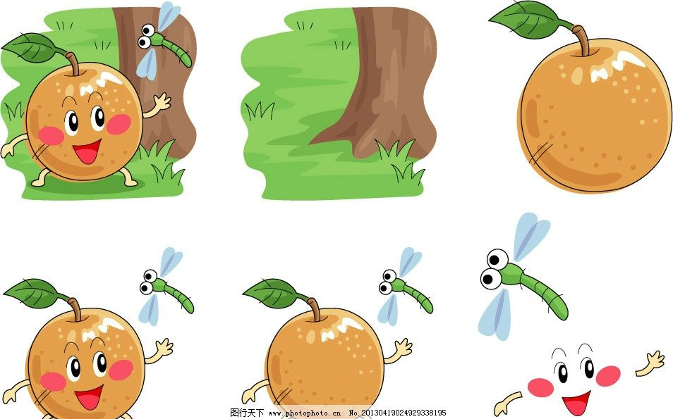 手绘梨表情 梨 水果 健康 营养 维生素c 手绘 插画 插图 q版 可爱