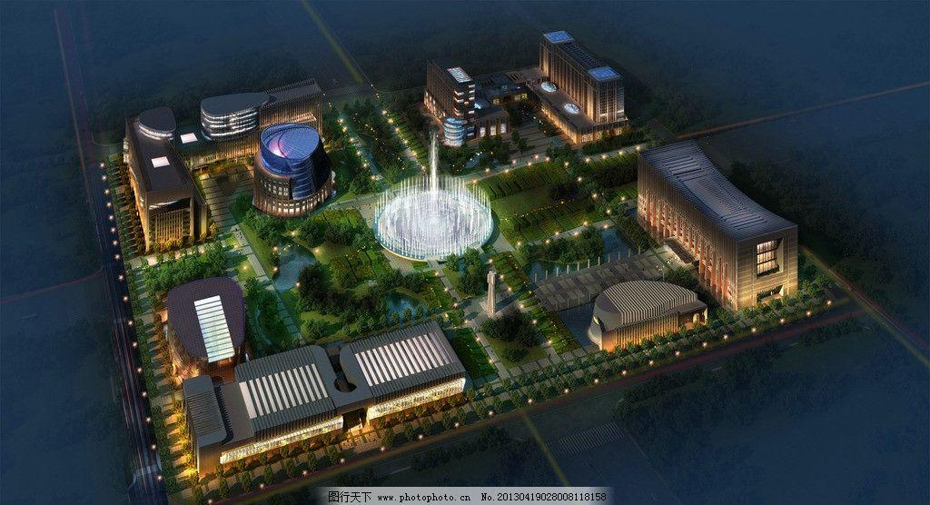 环境设计 建筑设计  夜景效果图 效果图 3d 鸟瞰效果图 夜景ps 建筑