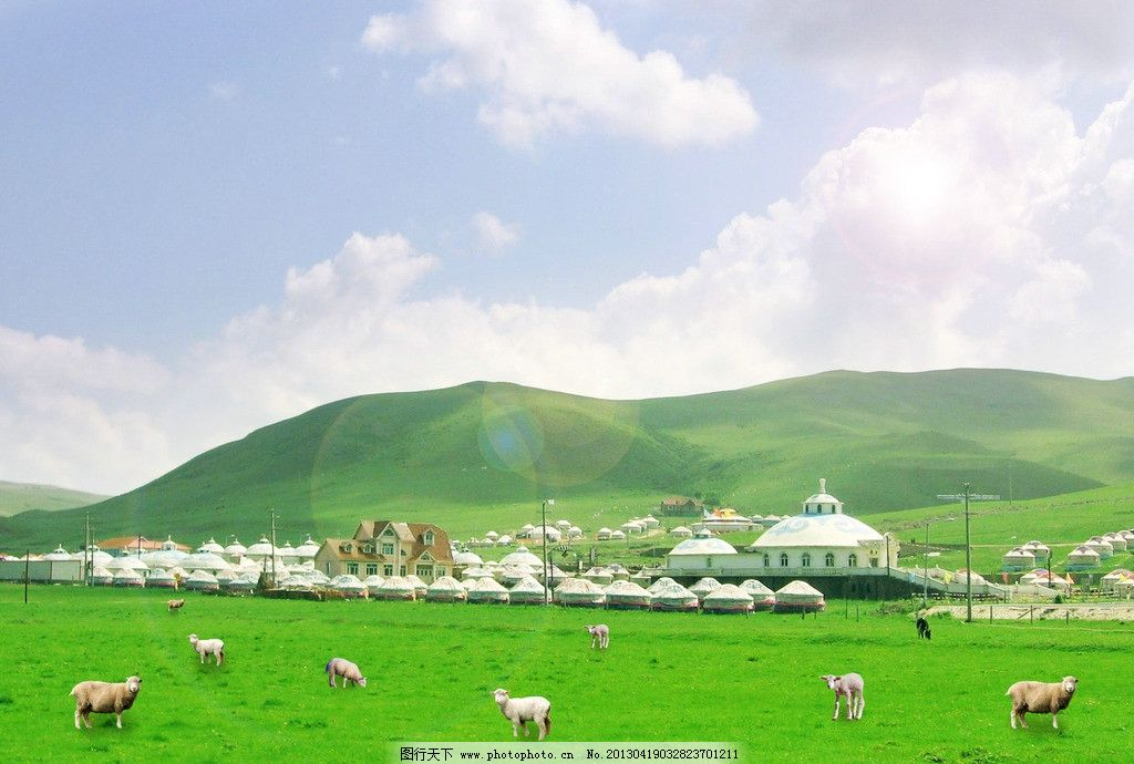 草原蒙古包 内蒙古 草原 羊群 蒙古包 天空 风景 psd分层素材 源文件