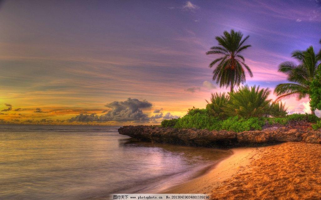 沙滩 大海 椰子树 黄昏 美景 彩霞 热带 巴厘岛 美丽自然 自然风景