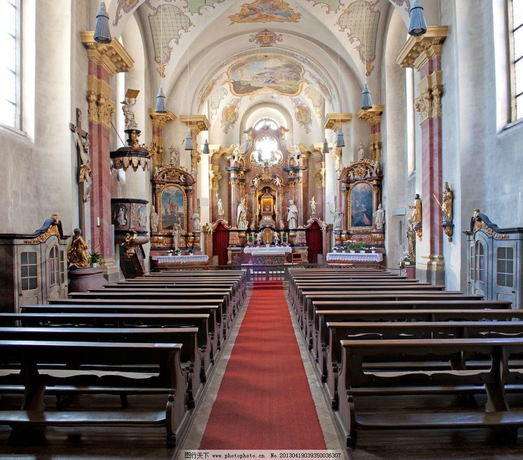 教堂 欧式大堂 天花 吊顶 拱门 餐厅 过道 走廊 雕花 罗马柱