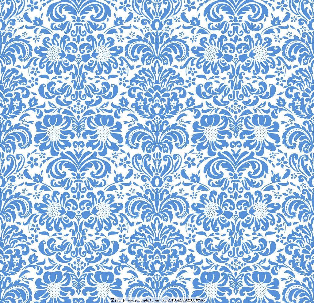 蓝色花卉背景图图片