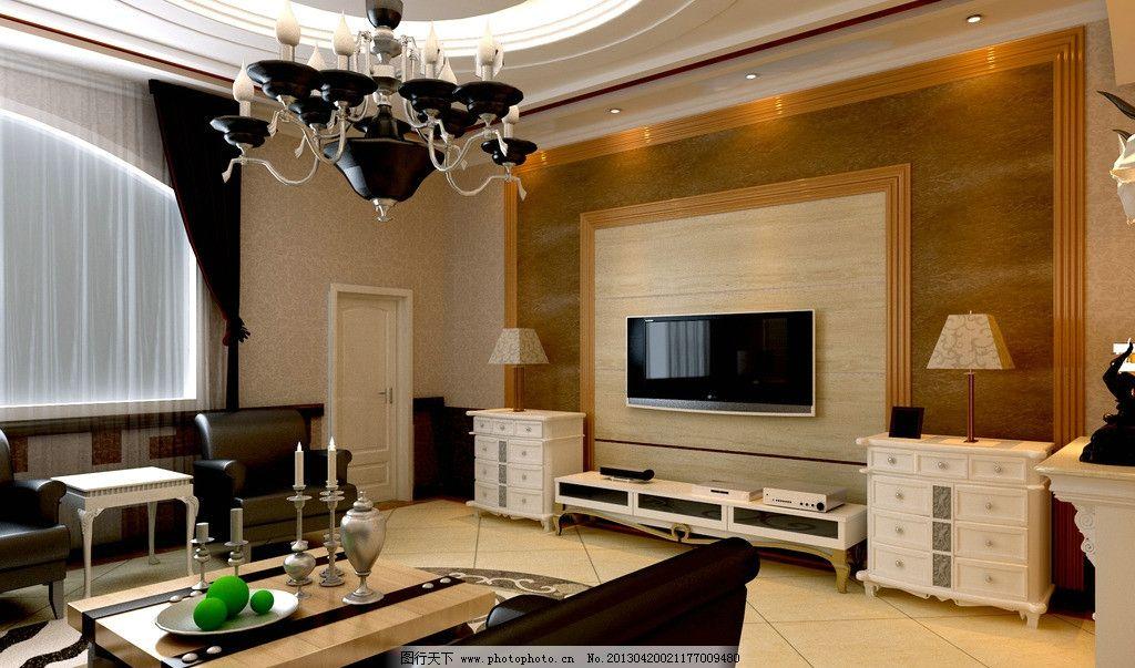 欧式客厅 欧式      吊灯 石材 电视背景 沙发 台灯 圆顶 电视柜 3d