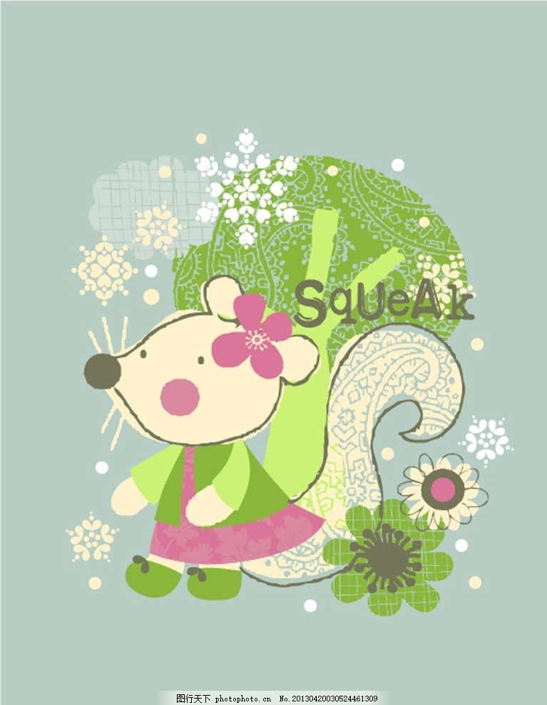 小松鼠 小动物 鲜花 花朵 花瓣 插画 背景画 动漫 卡通 时尚背景
