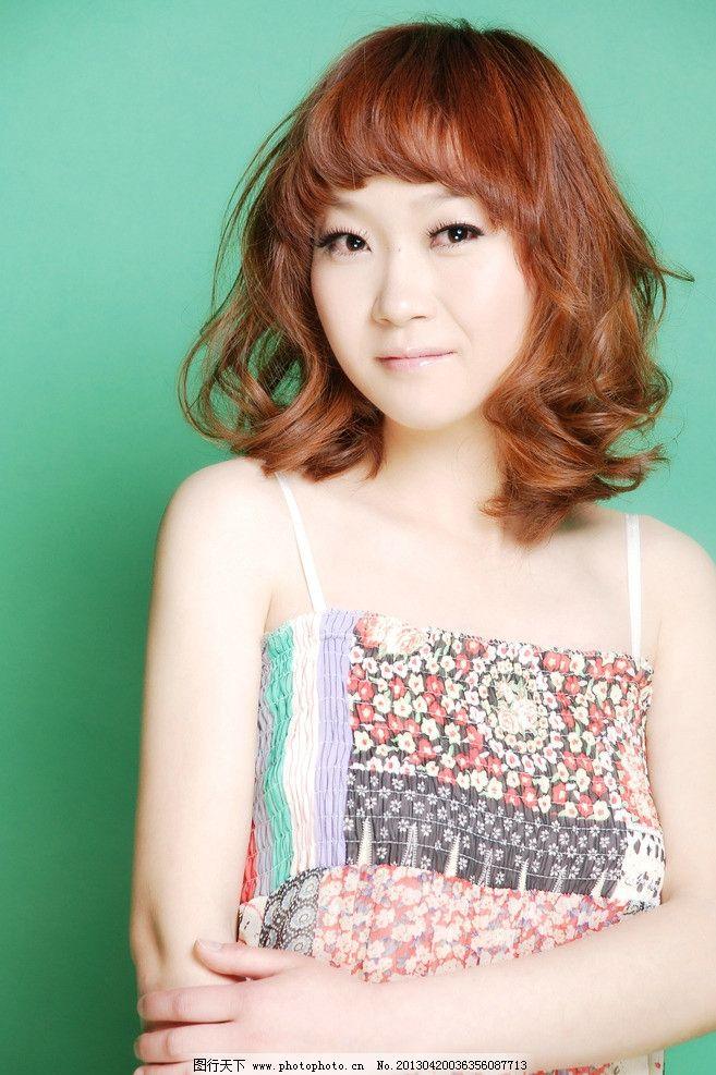 美发 发型 中发 卷发 黄头发时尚发型 韩式发型 新潮发型 人物摄影 人