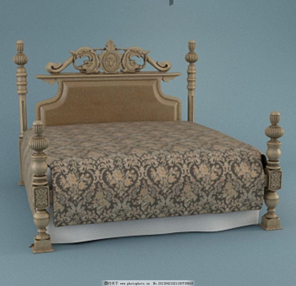 漂亮欧式床 床模型 床铺 高档床 欧式花纹 床头柜 室内效果图图片