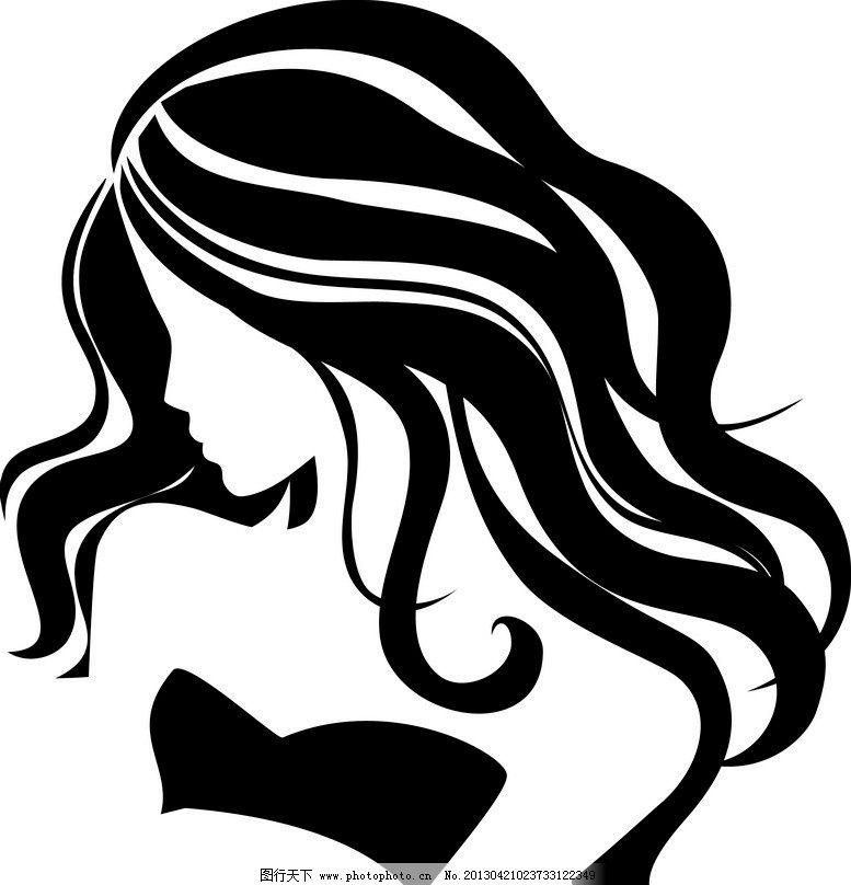 线条时尚美女画像 美女 女人 女孩 女郎 画像      秀发 头发 飘逸
