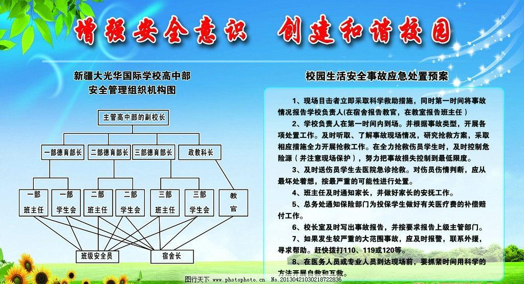 学校组织机构图 草地 小树叶 星光 光环 向日葵 树 展板模板 广告设计
