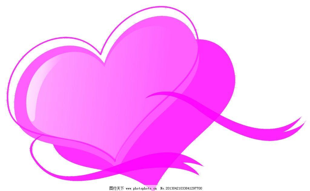 浪漫爱心 浪漫的爱心 手绘浪漫 双桃心图 卡片 源文件