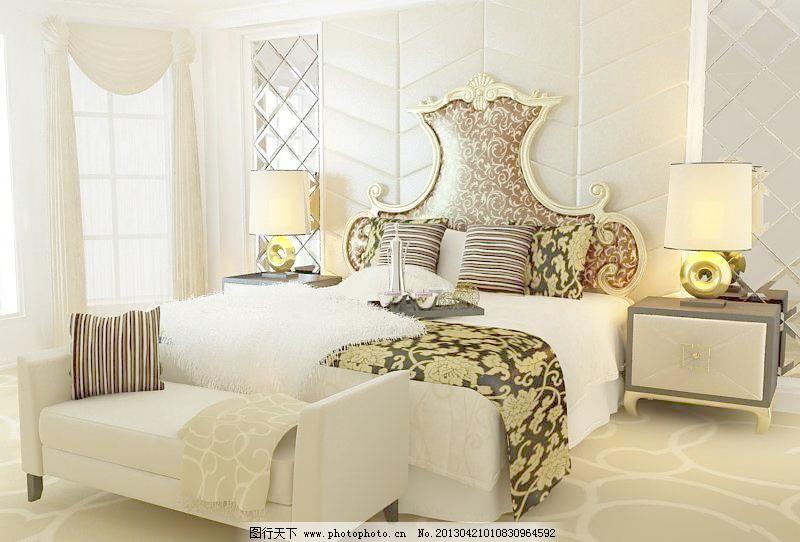 精致欧式床 欧式床 床 床模型 3d模型 床铺 高档床 欧式花纹 床头柜 3图片