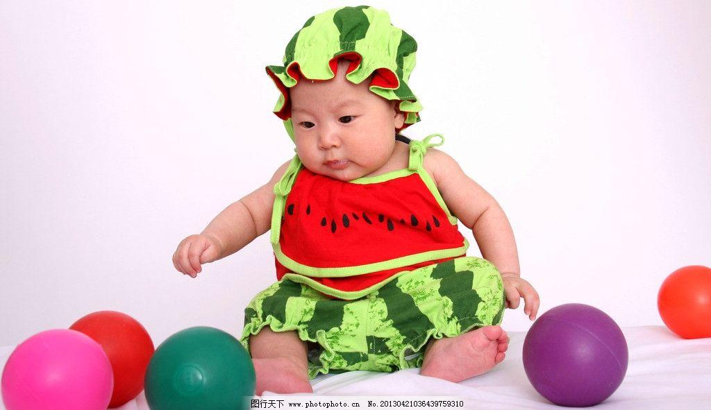 西瓜宝宝 百天宝宝 百天照 婴儿 婴孩 婴幼儿 宝贝 婴童 可爱宝宝
