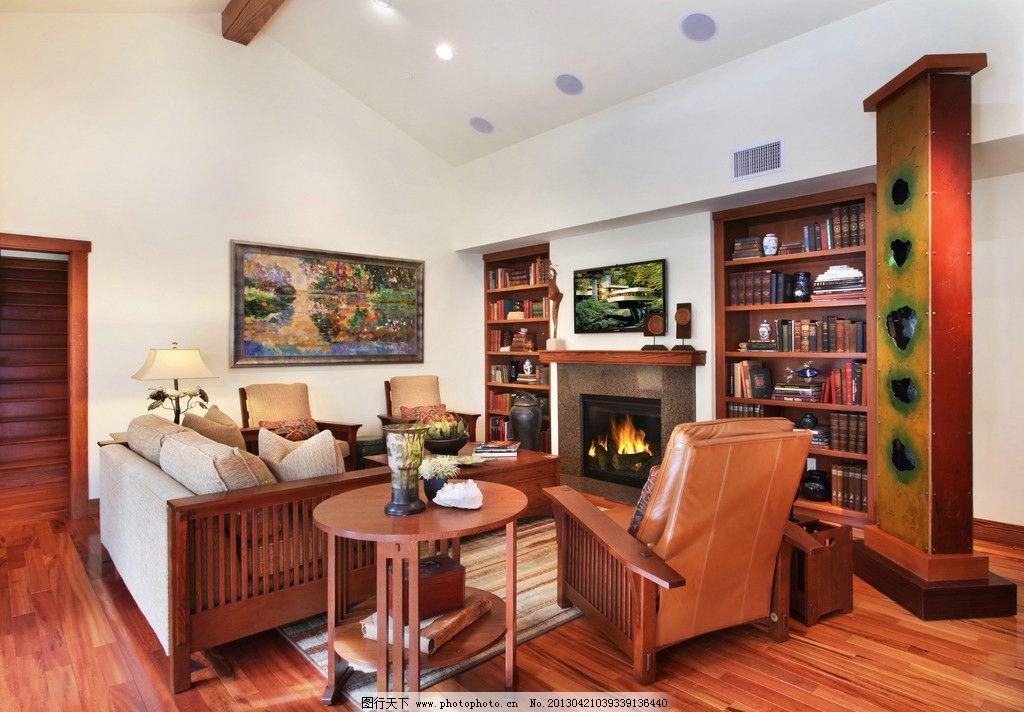 北欧客厅 北欧风格 装修 大厅 真皮沙发      吊顶 书架 木地板 室内