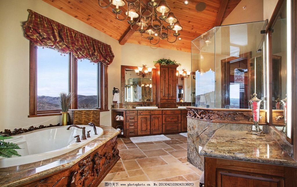 欧美浴室 美式 欧式 北欧 浴缸 洗手间 洗手台 窗户 窗帘 吊顶