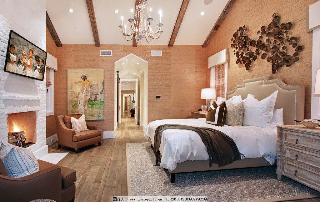 卧室欧式 简约 床 吊顶 水晶灯 木地板 豪华 别墅 北欧 室内摄影