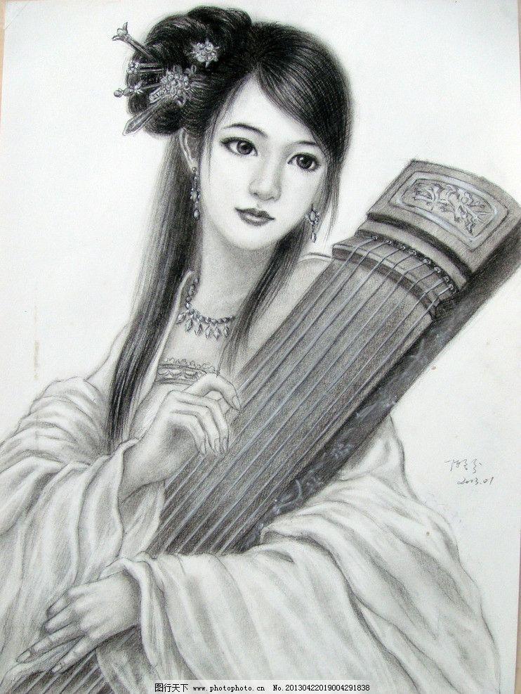 素描古装美女 素描美女 古装美女 美女 素描 艺术 绘画 手绘美女 铅笔