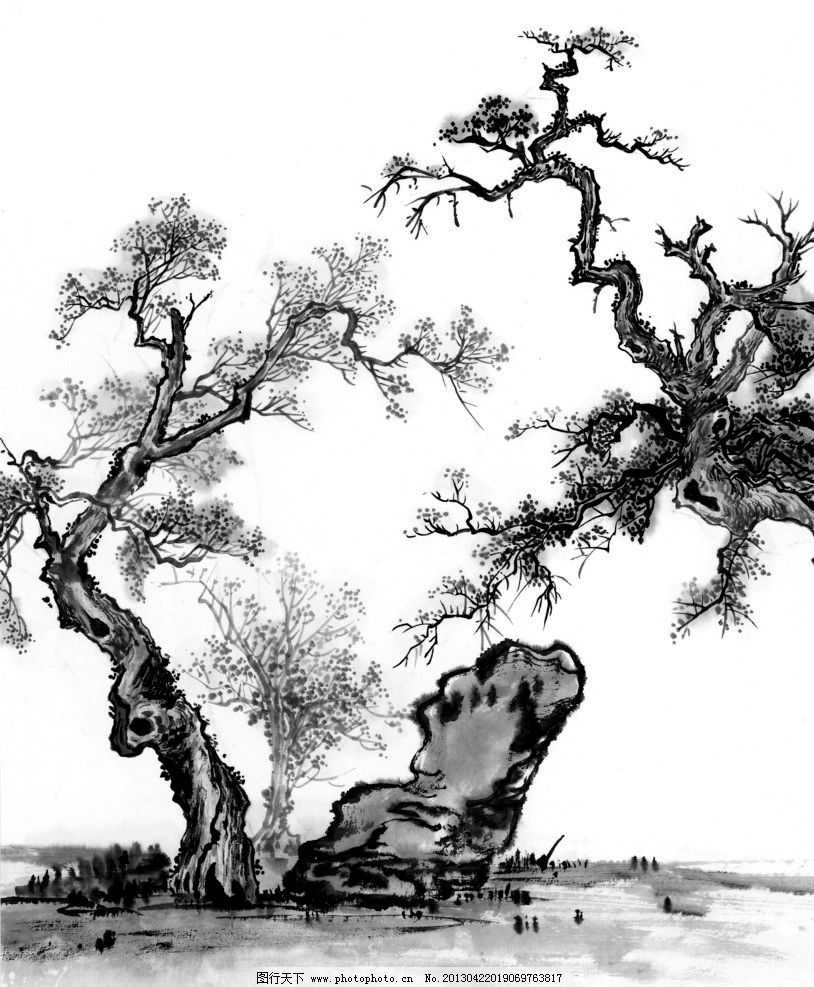 中国画 树木 文化 传统 历史 国画 中国 山水 水墨 黑白 石头 绘画