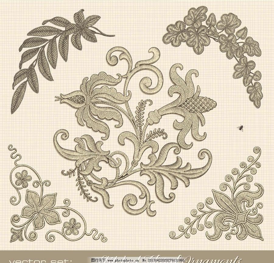 复古植物绣花矢量 植物 绣花 花边 边角 勾线 花 树叶 矢量素材 底纹