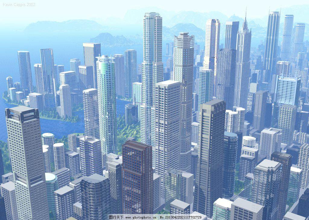 立体城市 3d 立体      背景 设计 造型 立体造型 城市 蓝天 大厦