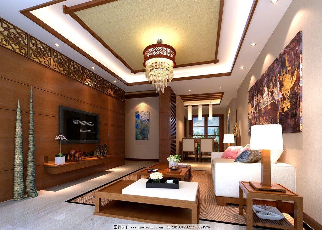 东南亚客厅 东南亚      吊灯 沙发 电视背景墙 客厅效果图 3d作品 3d