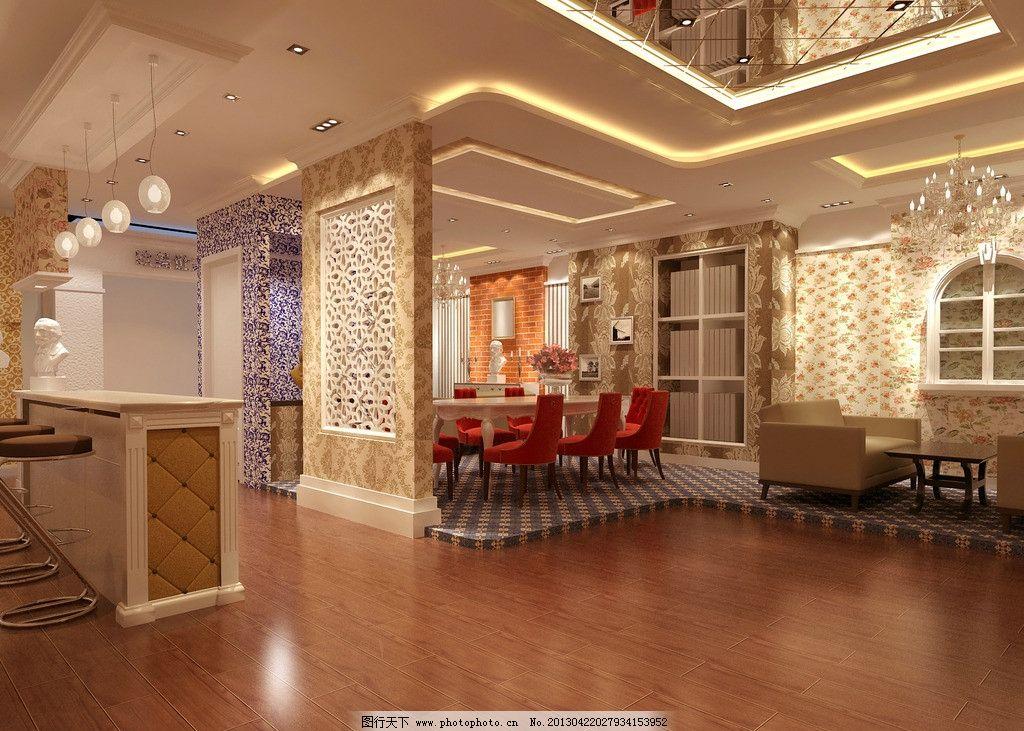 室内装修效果图 欧式 墙纸 餐桌 灯图片