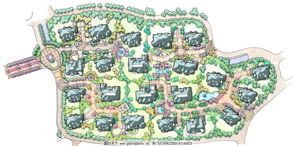 手绘居住区平面图 手绘 居住区 平面图 景观 彩色 景观设计 环境设计