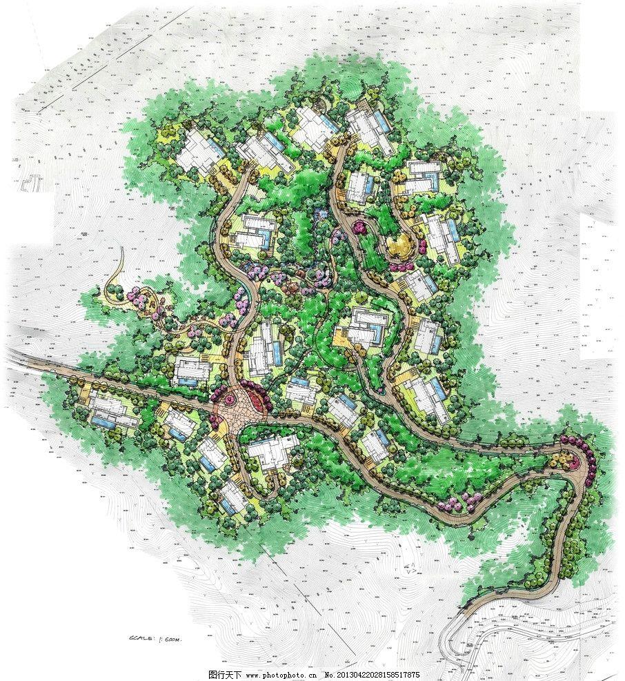 手绘居住区平面图图片