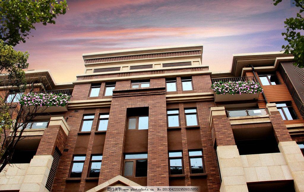 大气豪宅洋房立面仰视 豪宅 大气地产 仰视 洋房景观 欧式产品 天空
