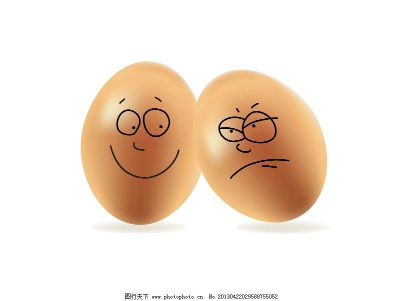 创意童趣鸡蛋矢量素材 立体 表情 手绘 铅笔画 食品 矢量图