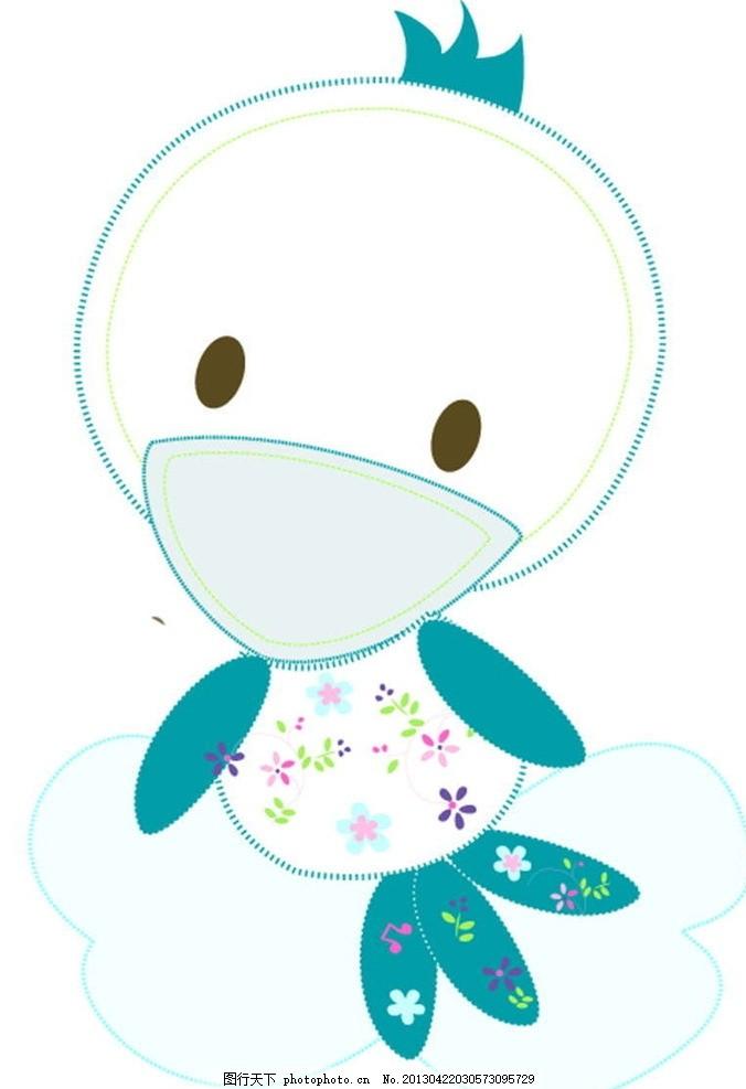 小鸭子 小动物 插画 背景画 动漫 卡通 时尚背景 背景元素 图画素材